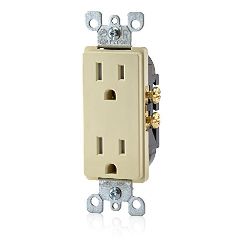 Leviton T5325-I 15 Amp 125 Volt, Decora Tamper Resistant, Duplex Receptacle, Straight Blade, Grounding, Ivory (Electrical Receptacle Grounding Duplex)
