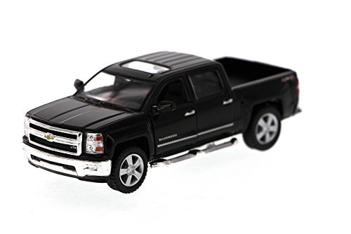 Kinsmart 2014 Chevy Silverado Pick-up Truck, Black 5381D - 1/46 Scale Diecast Model Toy Car