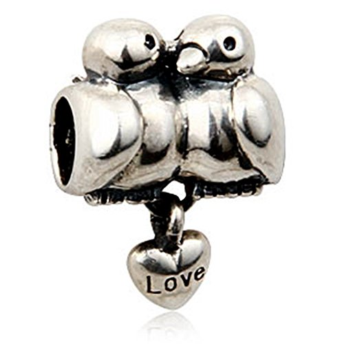 Love Birds w/ Dangling Heart Charm - 925 Sterling Silver Pendant Beads - Fit for DIY Charms Bracelets (Pandora Charm Lovebird)