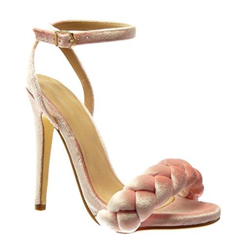 Angkorly - Scarpe da Moda sandali scarpe decollete donna intrecciato tanga Tacco Stiletto tacco alto 12.5 CM - Rosa