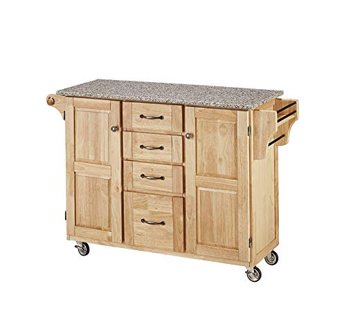 (Furniture Natural 2 Door Kitchen Cart with Salt and Pepper Granite Top and Home Office Commerial Heavy Duty Strong Décor)