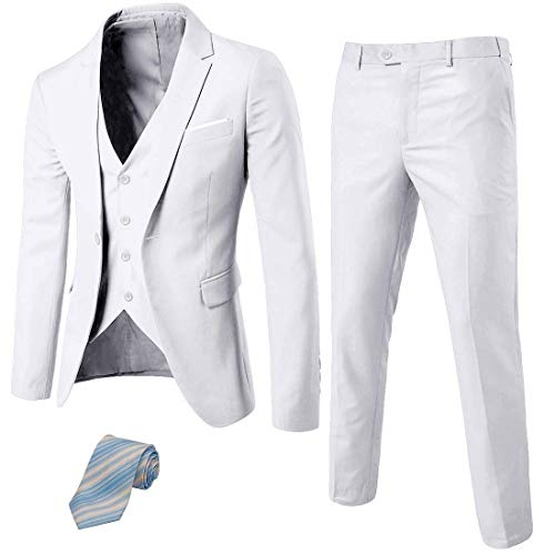 (MY'S Men's 3 Piece Suit Blazer Slim Fit One Button Notch Lapel Dress Business Wedding Party Jacket Vest Pants & Tie Set White)