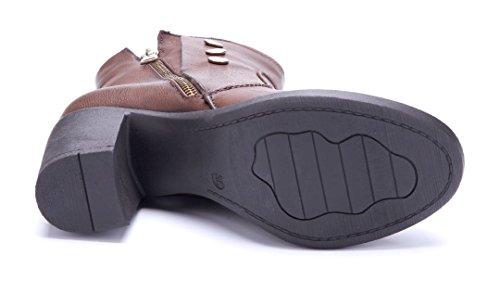 Schuhtempel24 Damen Schuhe Klassische Stiefeletten Stiefel Boots Blockabsatz Reißverschluss/Nieten 7 cm Braun