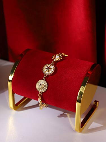 Soporte exhibidor de joyeria metal dorado y terciopelo rojo