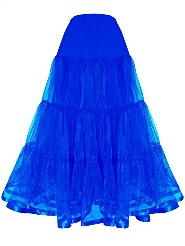 Shimaly Women's Floor Length Wedding Petticoat Long Underskirt For Formal Dress (S-M, Royal Blue) - Fancy Slip