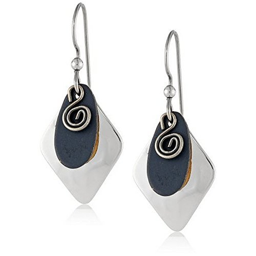 Double Swirl Earrings (Silver Forest Drop Earrings Rhomboid Double with Swirl Layer, Handcrafted in the USA, Ne-0646)