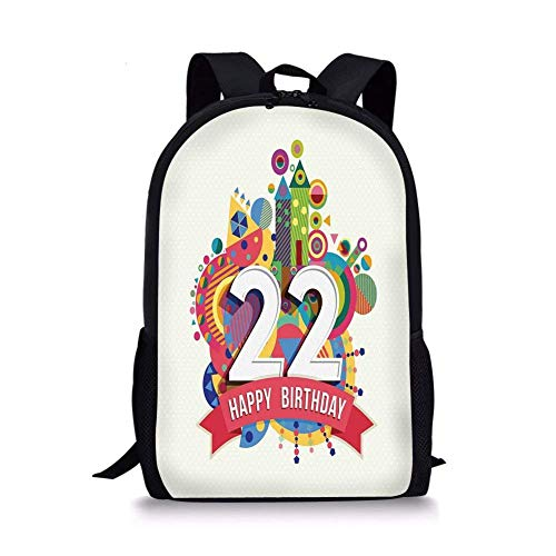 (School Bags 22nd Birthday Decorations,Celebration Pattern on Funky Urban City Background Funny Print,Multicolor for Boys&Girls Mens Sport)