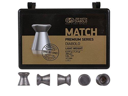 (JSB Match Premium Light, .177 Cal, 7.33 Grains, Wadcutter, 200ct)