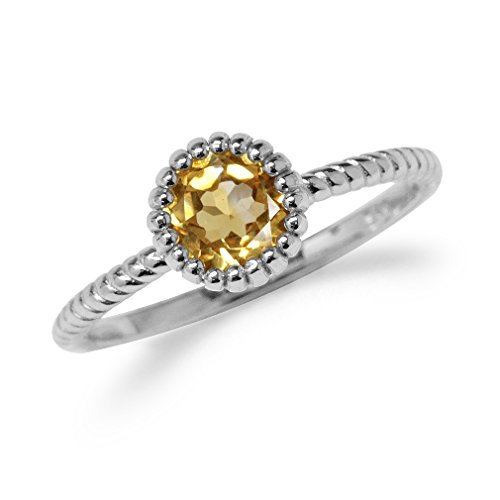 Natural Citrine White Gold Plated 925 Sterling Silver Stack/Stackable Solitaire Ring Size 8