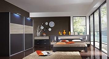 Schlafzimmer 4-tlg. Lava-Anthrazit, Schrank B: 225 cm, Futonbett 180 ...