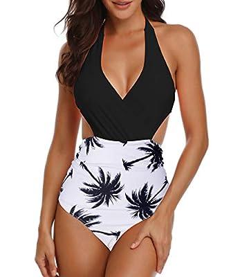 American Trends Womens Sexy One Piece Swimsuits High Waisted Bikini Halter Top Bikini Monokini for Women