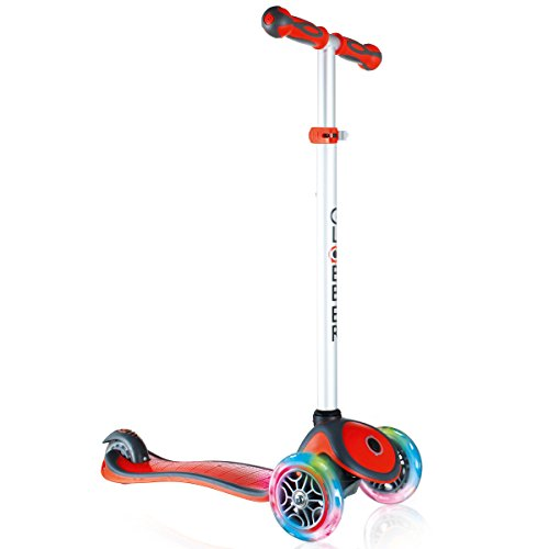 Globber 3 Wheel Adjustable Height Scooter with LED Light Up Wheels (Red) -