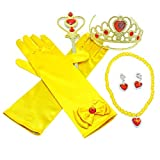 Princess Dress Accessories 5 Sets with Gloves Crown Scepter Necklace Earring for Kids Girls Gifts
