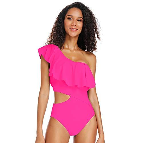 Dixperfect Women's One Piece Swimsuits One Shoulder Ruffle Monokini Bathing Suit Cut Out Side (L, Hot Pink) (Hot Bathing Suits)