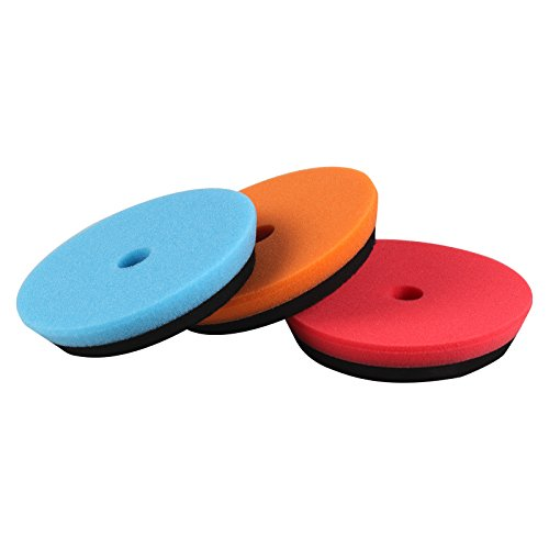 SPTA 3Pcs 6inch (150mm) Blue/Orange/Red HD Polishing Pad Buffing Pads For 5inch (125mm) RO / DA Rupes Random Orbital Car Polisher