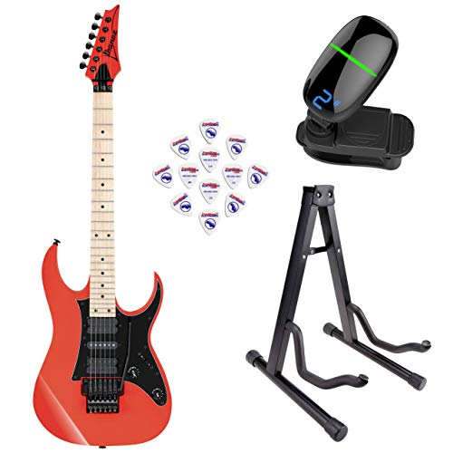 Ibanez RG550 Genesis Collection RG Electric Guitar (Road Flare Red) with Front Row Guitar Stand, tuner and pick sampler