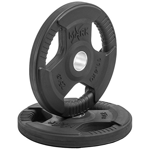 XMark Fitness Premium Quality Rubber Coated Tri-grip Olympic Plate Weights - 1 Pair of 25 lb. Plates