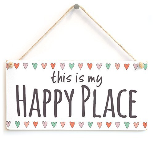 Happy Birthday Plaque (this is my HAPPY PLACE Funny Wood Sign Home Decor Wooden Wall Plaque Hanging Decorative Rustic Door Signs)
