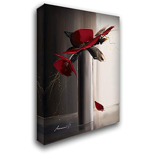(Bouquet Rouge II 39x55 Extra Large Gallery Wrapped Stretched Canvas Art by Tramoni, Oliver)