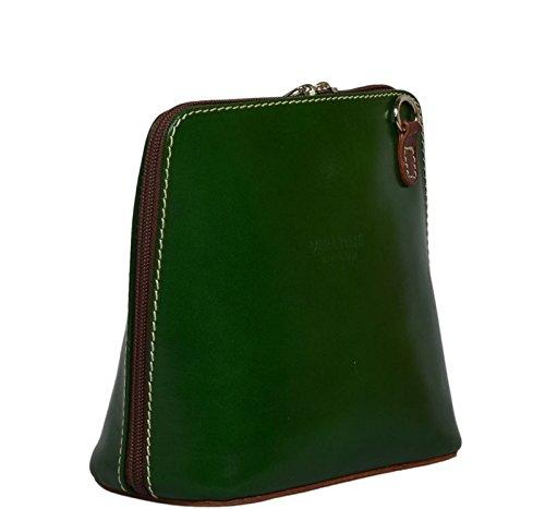 c8036b8eeb138 Schöne praktische Leder Grüne Handtasche aus Leder Grana Verde Marrone über  die Schulter ...