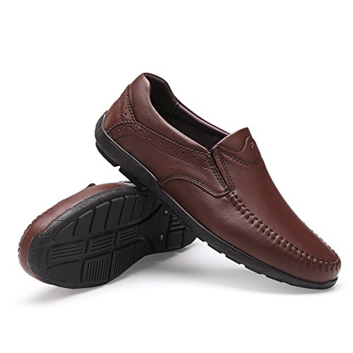 da Mocassini slip shoes vera 39 da Color in Marrone on traspiranti EU pelle Mocassini guida Meimei uomo Dimensione leggeri Scarpe 1zfq7dw88