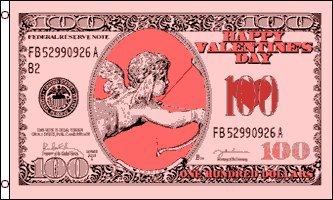 Happy Valentines Day Cupid Money 5'x3' Flag -