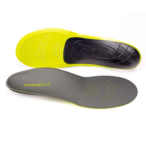 Superfeet CARBON, Thin and Strong Insoles for Pain Relief in Performance Athletic and Tight Casual Shoes, Unisex, Gray, Medium/D: 8.5-10 Wmns/7.5-9 Mens