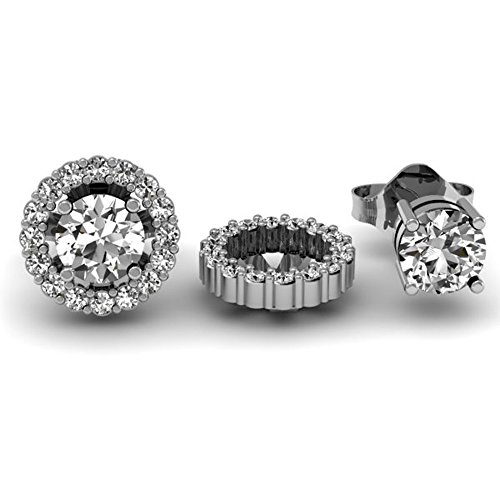 0.25 Carat (ctw) 14K White Gold Round White Diamond Removable Jackets for Stud Earrings 1/4 CT by DazzlingRock Collection