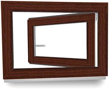 2 fach Verglasung innen mahagoni//au/ßen mahagoni 600 x 400 mm Kellerfenster Dreh- /& Kippfunktion 60 mm Profil BxH: 60 x 40 cm Fenster DIN Links