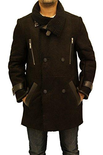 Foso Caliente Negro New Cuello Doble Hombres De Botonadura Piel Oveja Capa Con Gran qS4RwnF