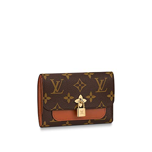 kjelaeg Luxurious Retro Monogram Practical Short Compact Wallets Printed Canvas Leather Zipper Coin Purse Pocket for Women 16.0 x 9.0 x 2.5cm