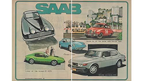 Magazine Print Ad and Article: 1976, 25 Years of Saab, Illustrator Mark Stehrenberger, Article by John Christy, Motor Trend Magazine, Featuring Saab 1946 Prototype, Sonett II, III, 96, 99 EMS