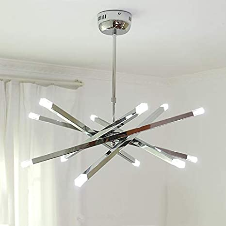Modern Chrome Rod Star LED Pendant Lamp Ceiling Hanging Chandelier 12  Lights (White)     Amazon.com