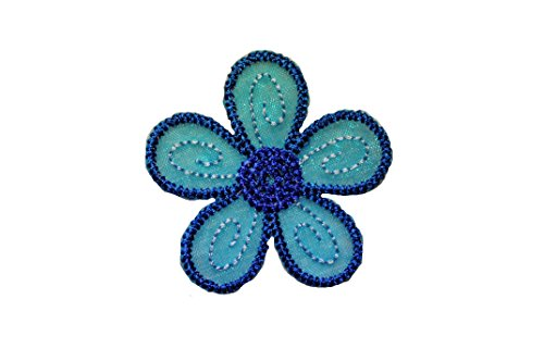 Altotux Blue Embroidered Organza Daisy Flower Sew on Floral Patch Applique Sewing Notions DIY Craft Supplies By Piece (1.75