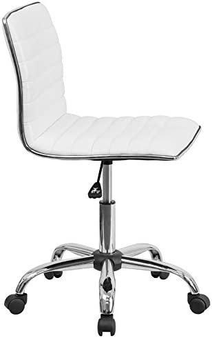 Flash Furniture Low Back Designer Armless White Ribbed Swivel Task Office Chair – DS-512B-WH-GG