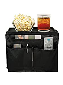 TV Remote Control Holder & Armrest Organizer – Sofa Couch Arm Tray and Pocket Caddy as Holders for Remote Controls, Cell Phones, Books, Drinks, Snacks, Glasses, Magazines. Fits Arms 5 to 6 Inches Wide