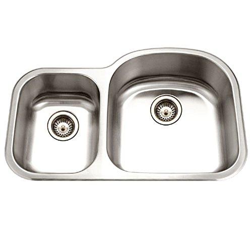 UPC 881208010509, Houzer MC-3210SL-1 Medallion Designer Series Undermount Stainless Steel 70/30 Double Bowl Kitchen Sink, Small Bowl Left