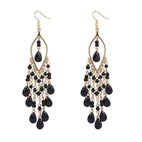 anba Women Charm Bohemian Colorful Beads Ear Drops Dangle Tassels Earrings 1 Pair (Black) (Black Bead Drop Earrings)