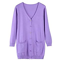 Women Cardigan Wool Cashmere Sweater Fashion Medium Long Loose Outerwear Coat With Pockets Lavender L