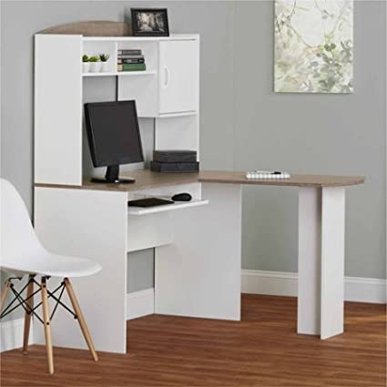 Superbe Corner L Shaped Office Desk With Hutch (White/Sonoma Oak)