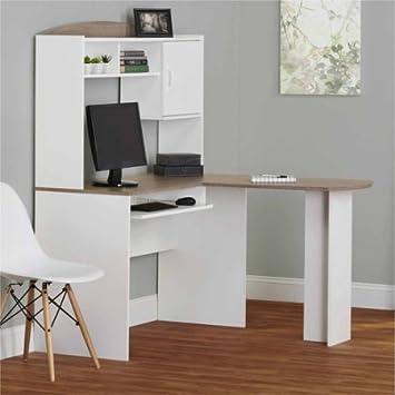 shaped office desk. Corner L Shaped Office Desk With Hutch (White/Sonoma Oak) D