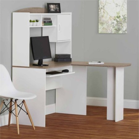 Corner L Shaped Office Desk with Hutch (White/Sonoma Oak) by Mainstay (Image #3)