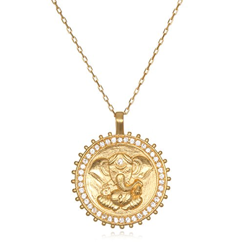 - Satya Jewelry White Topaz Gold Ganesha Pendant Necklace 30-Inch, One Size
