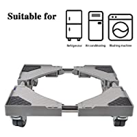 LUCKUP Multi-functional Movable Adjustable Base with 4 Locking Rubber Swivel Wheels Size Adjustable Universal Mobile Case Roller Dolly for Dryer, Washing Machine and Refrigerator,Grey ...