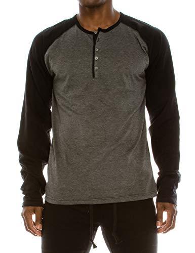 TrueM Mens 100% Cotton Raglan Baseball Casual Premium Long Sleeve 5-Button Henley Shirt Perforated Sleeve & Back