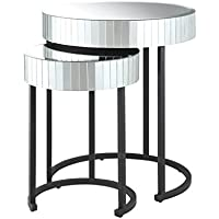 OSP Designs Krystal Round Mirror Accent Tables
