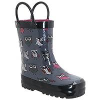 Capelli New York Shiny Sketchy Pop Owls Print Toddler Girls Rain Boots