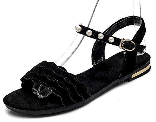 Aisun Women's Fashion Open Toe Beads Buckled Sandals Black 2 NsP2hY