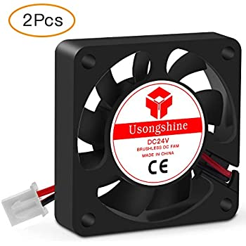 Usongshine 3D Printer Cooling Fan 40 x 40 x10mm 4010 DC 24V Cooling Fan with 2Pin Wire, 2 Packs of Mounting Screws (24V Pack of 2)