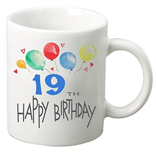 Happy Birthday 11 oz ounce Coffee Tea Mug Cup White Ceramic Celebration for Friends and Family (19th)